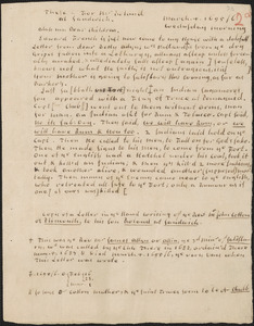 Copy of a letter from John Cotton, Plymouth, to Rowland Cotton, Sandwich, 1695/1696 March 4, in the hand of Thomas Prince, with his notes