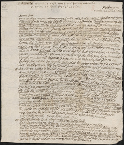 Letter from John Cotton to Rowland Cotton, Sandwich,1695/1696 March 6