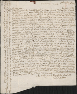 Letter from John Cotton to Rowland Cotton, Sandwich, 1695/1696 March 5