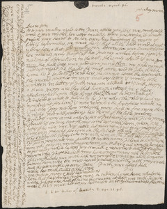 Letter from John Cotton to Rowland Cotton, Sandwich, 1696 April 22