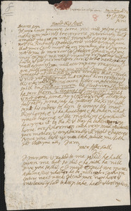 Letter from John Cotton to Rowland Cotton, Sandwich,1696 August