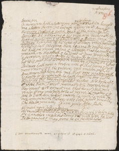Letter from John Cotton to Rowland Cotton, Sandwich, before 1696 September 8