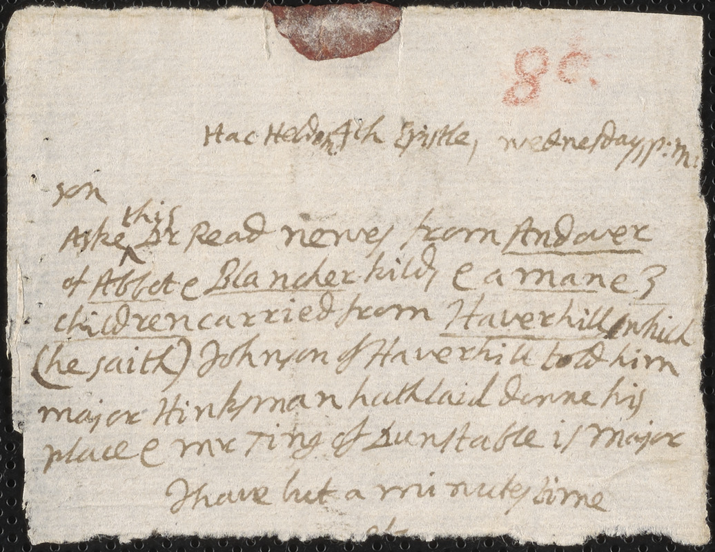 Fragment of a letter from John Cotton to Rowland Cotton