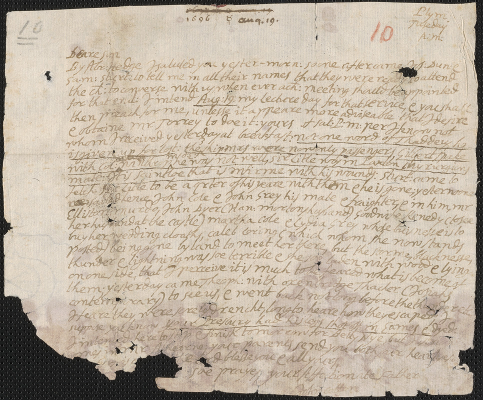 Letter from John Cotton, Plymouth, to Rowland Cotton, Sandwich,1696 August 19