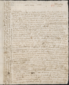 Letter from John Cotton to Rowland Cotton, Sandwich, after 1696 August