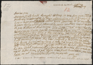 Letter from John Cotton to Rowland Cotton, Sandwich, 1696 September 30