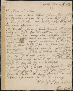 Letter from Rowland Cotton, Salisbury, to Richard Saltonstall, Haverhill, 1696/1697 March 19