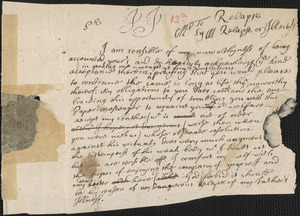 Letter from Richard Saltonstall to Rowland Cotton, Haverhill