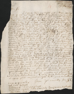 Letter from Rowland Cotton, Plymouth, to John Cotton, Tuesday, 1699 April 25