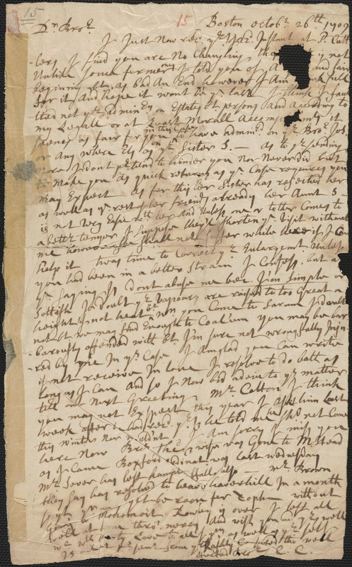 Letter from Caleb Cushing, Boston, to Rowland Cotton, Sandwich, 1709 October 26