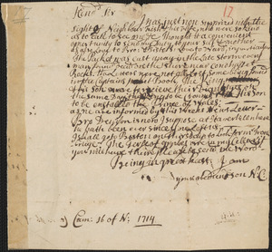 Letter from Nathaniel Cotton, Cambridge, to Rowland Cotton, Sandwich, 1714 November 16