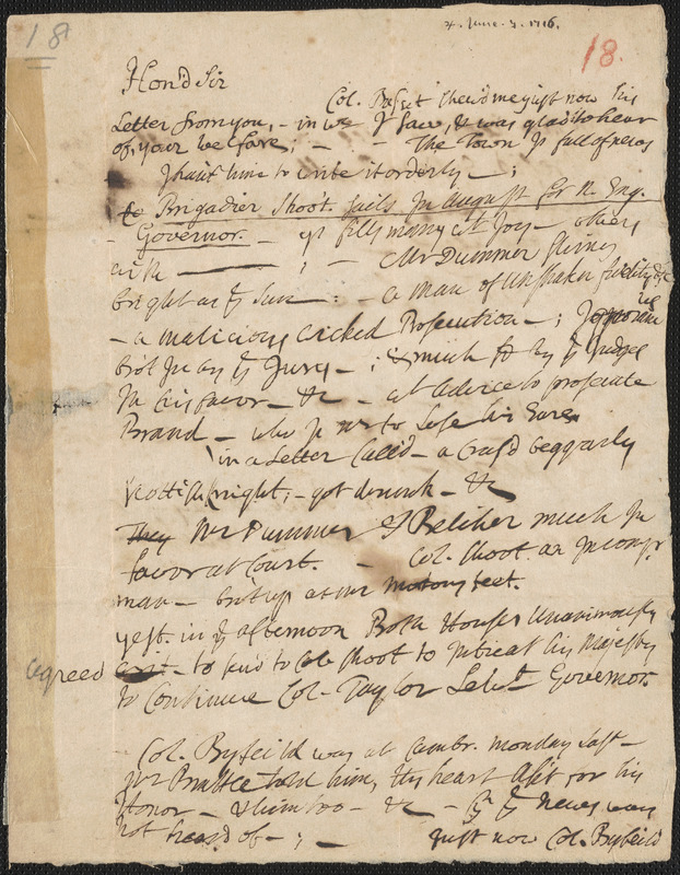 Letter from John Cotton to an unknown recipient, 1716 June 7