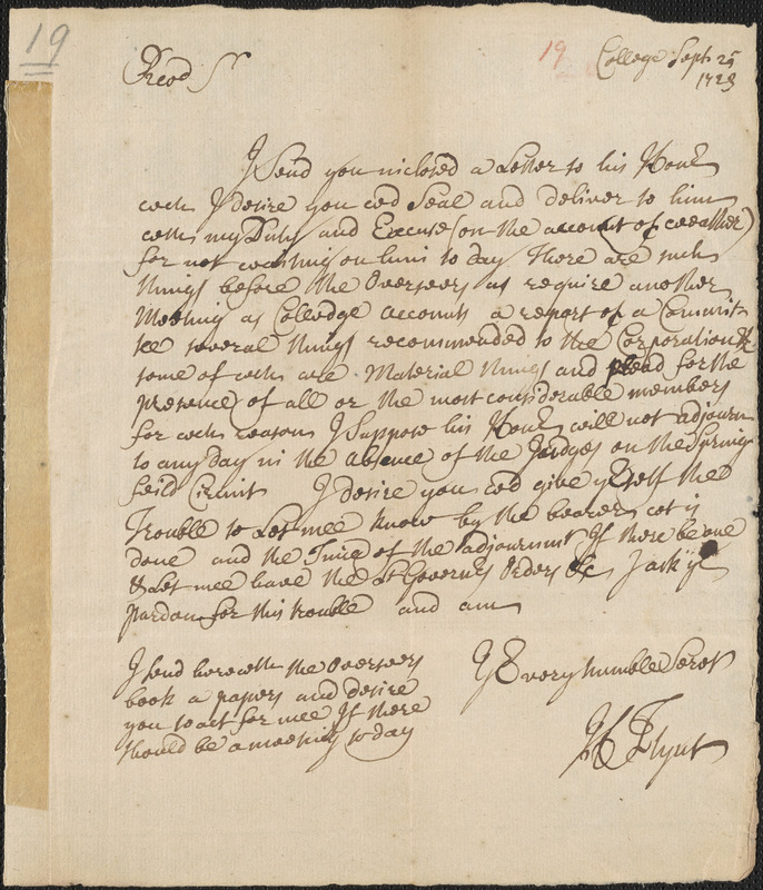Letter from Henry Flynt, to Thomas Prince, 1723 September 25