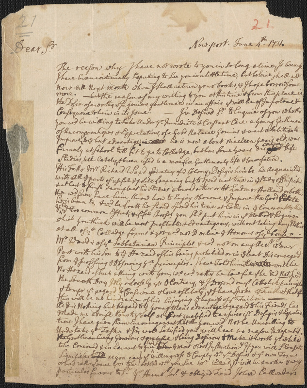 Letter from John Callender, Newport, to Nathan Prince, 1731 June 4