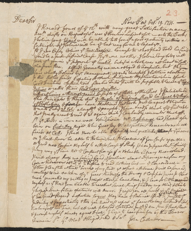 Letter from John Callender, Newport, to Nathan Prince, Cambridge, 1731 October 19