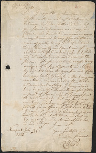 Letter from Richard Ward, Newport, to Nathan Prince, Cambridge, 1732 July 31