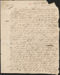 Letter from Henry Collins, Newport, to Nathan Prince, Cambridge, 1732 August