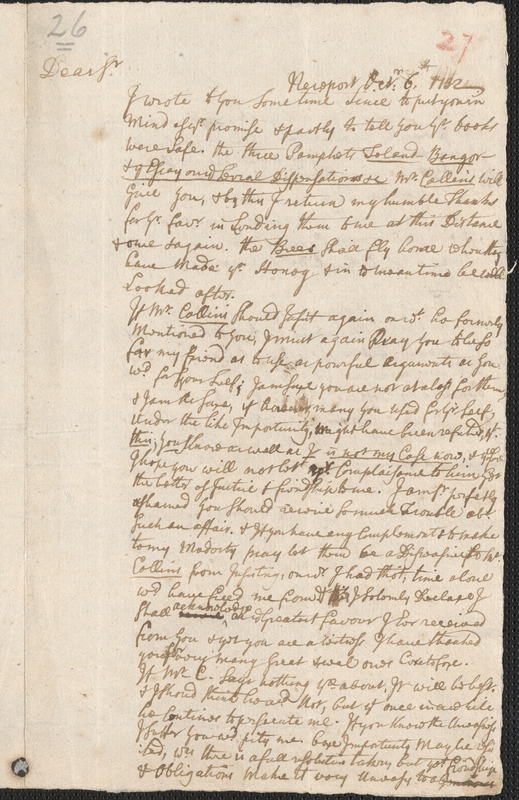 Letter from John Callender, Newport, to Nathan Prince, Cambridge, 1732 October 6