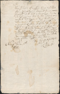 Letter from Richard Ward, Newport, to Nathan Prince, Cambridge, 1733 June 6
