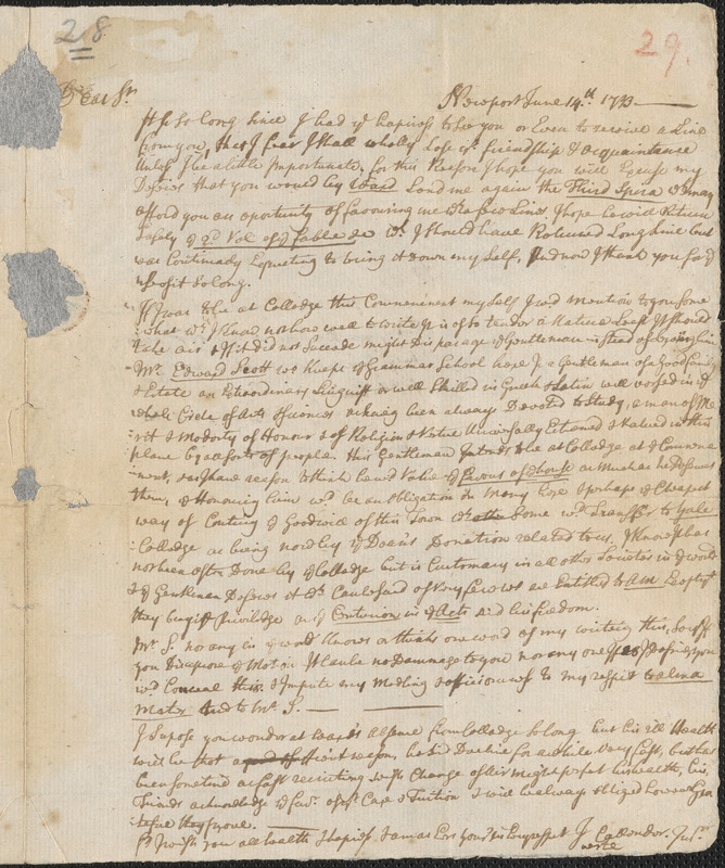Letter from John Callender, Newport, to Nathan Prince, Cambridge, 1733 June 14