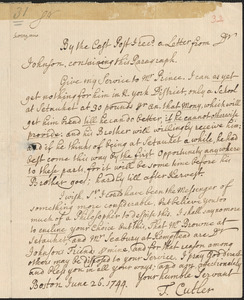 Letter from T. Cutler, Boston, to Nathan Prince, Dorchester, 1744 June 26