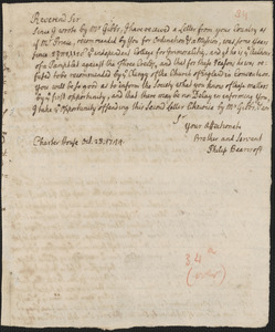 Letter from Philip Bearcroft, London, to an unknown recipient, 1744 October 28