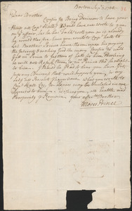 Letter from Moses Prince, Boston, to Nathan Prince, Boston, 1744 September 3