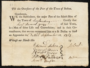 Document of indenture: Servant: Utinock, Elizabeth. Master: Gregg, Samuel [Sam]. Town of Master: Londonderry. Selectmen of the town of Londonderry autograph document signed to the Overseers of the Poor of the town of Boston: Endorsement Certificate for Samuel Gregg.