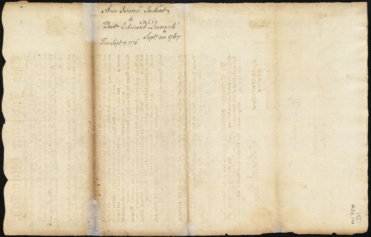 Document of indenture: Servant: Evans, Ann. Master: Durant, Edward. Town of Master: Holliston. Selectmen of the town of Holliston autograph document signed to the Overseers of the Poor of the town of Boston: Endorsement Certificate for Edward Durant.