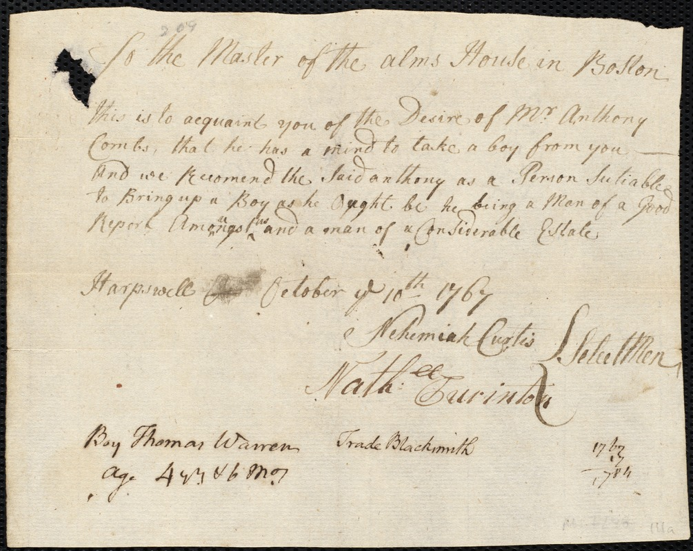 Document of indenture: Servant: Warren, Thomas. Master: Combs, Anthony Jr. Town of Master: Harpswell. Selectmen of the town of the town of Harpswell autograph document signed to the Master of the Alms House in boston: Endorsement Certificate for Anthony Combs, Jr.