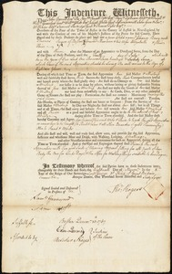 Document of indenture: Servant: Berry, Eleanor. Master: Rogers, Thomas. Town of Master: Boston