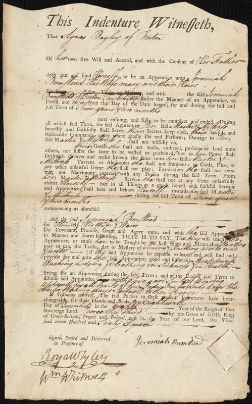 Document of indenture: Servant: Bayley, Agness [Agnes]. Master: Bumstead, Jeremiah. Town of Master: Boston