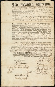 Document of indenture: Servant: Buffard, Charles. Master: Boyes, John. Town of Master: Rutland