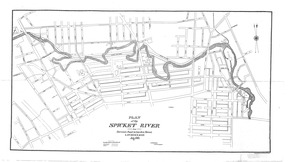 Map of the Spicket Valley showing improvements in the river channel and the line of the main sewer and branches Lawrence, Mass.