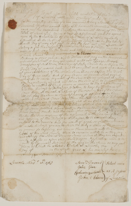County and town tax warrant to Joshua Child