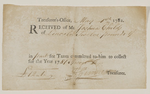 Commonwealth of Massachusetts and Town of Lincoln Treasurer receipts