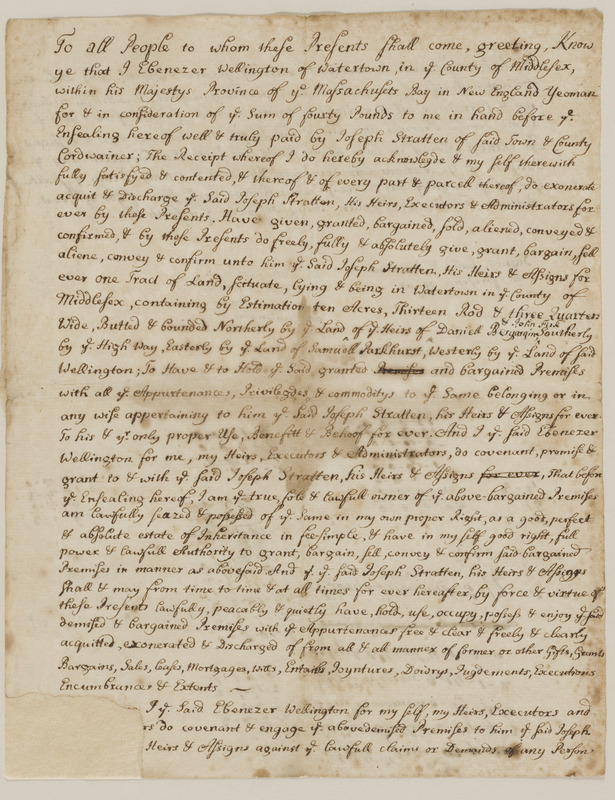 Deed from Ebenezer Wellington to Joseph Stratten for 10 acres land in Watertown, in consideration of 50£; reverse used by Joshua Child for tax calculations