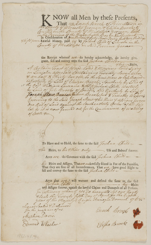 Deed from Enoch Brooks et ux. to Joshua Child for 27+ acres woodland and mowing in Lincoln, in consideration of 147£.