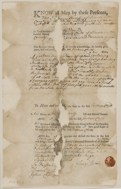 Deed from Eleazer Brooks to Joshua Child for 5 acres upland in Lincoln