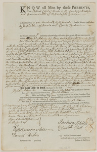 Deed of Joshua Child to Joseph Adams for 24 acres land, barn, and part of a dwelling, in consideration of 160£