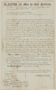 Deed of Joshua Child to John Child for land in Lincoln, in consideration of $100