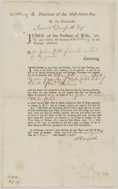 Appointment of Joshua Child as Guardian of Elisha Child and William Child, children of Elisha Child, deceased