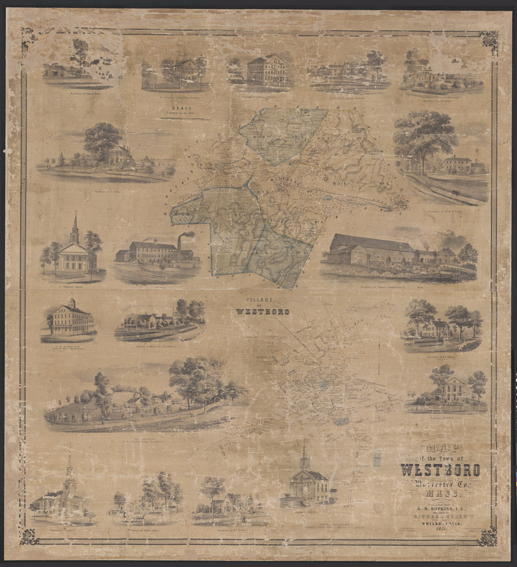 Map of the town of Westboro, Worcester Co., Mass. From an actual survey by G.M. Hopkins, C.E.