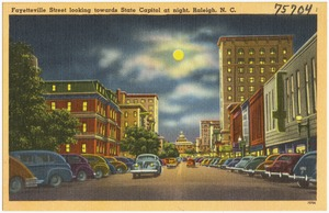 Fayetteville Street looking towards State Capitol at night, Raleigh, N. C.