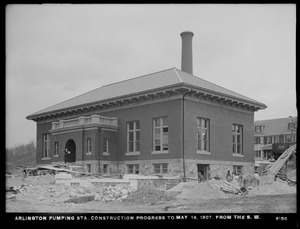 Distribution Department, Arlington Pumping Station, construction progress, from the southwest, Arlington, Mass., May 16, 1907