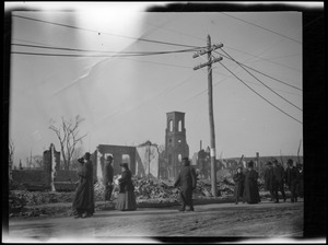 Ruins of the Great Chelsea Fire, Central Congregational Church in distance
