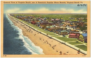 General view of Virginia Beach, one of America's popular shore resort, Virginia Beach, Va.