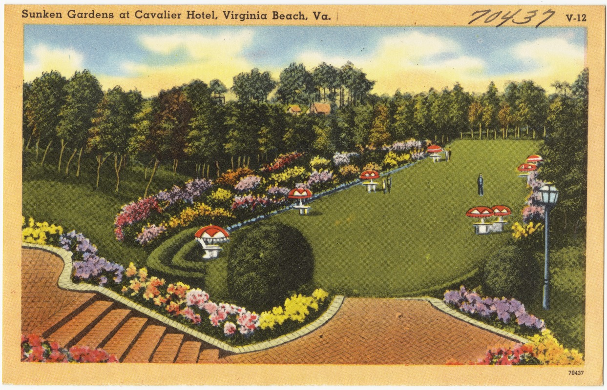 Sunken gardens at Cavalier Hotel, Virginia Beach, Va.