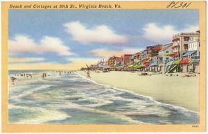 Beach and cottages at 20th St., Virginia Beach, Va.