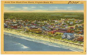 Aerial view beach front hotels, Virginia Beach, Va.